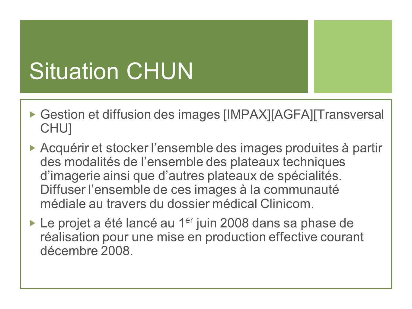 Situation CHUN Gestion et diffusion des images [IMPAX][AGFA][Transversal CHU]